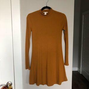 Mock Neck LS Mustard Fall Dress